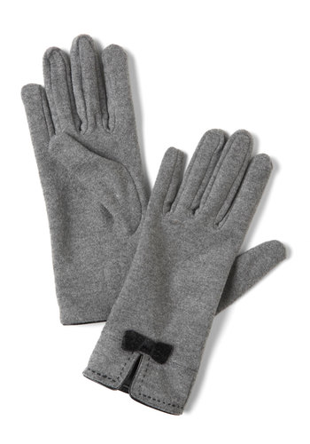 Chilly Weather Love Gloves - Grey, Black, Solid, Bows, Winter