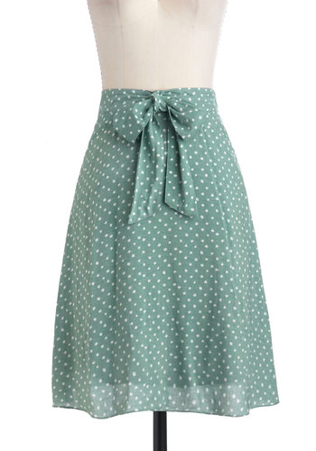 Isle of White Skirt - Mid-length, White, Polka Dots, Bows, A-line, Green, Pockets, Casual, Spring