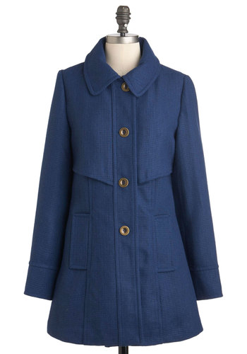 Mon Courier Coat by Tulle Clothing - Blue, Solid, Buttons, Long Sleeve, Fall, 2, Pockets, Long