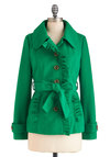 Trim and Vigor Jacket by Tulle Clothing - Mid-length, Green, Solid, Buttons, Ruffles, Long Sleeve, Fall, 2, Pockets, Belted