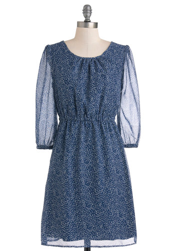 One for the Composition Books Dress by Tulle Clothing - Sheer, Mid-length, Blue, Print, A-line, Long Sleeve