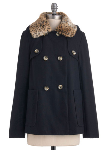 Toast of Downtown Coat - Blue, Brown, Solid, Buttons, Pockets, Long Sleeve, 3, Animal Print