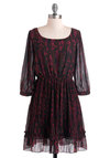 Treetop Dawn Dress - Brown, Black, Pleats, A-line, Long Sleeve, Short, Chiffon, Sheer, Party