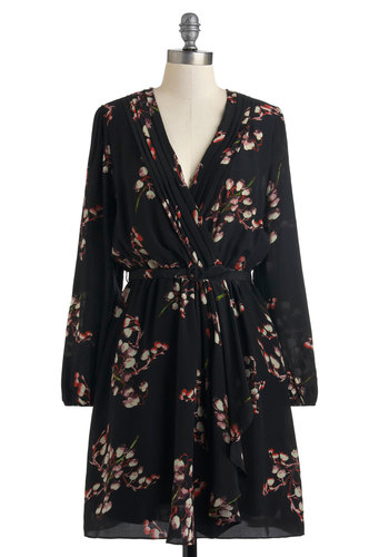 Frilly of the Valley Dress in Onyx - Black, Floral, A-line, Long Sleeve, Mid-length, Multi, Belted, Casual