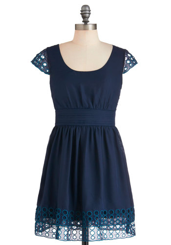 Boba Fete Dress - Short, Blue, Solid, Eyelet, Daytime Party, A-line, Cap Sleeves, Scoop