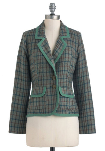 Attire Education Blazer by Nick & Mo - Blue, Brown, Plaid, Buttons, Pockets, Long Sleeve, Multi, Red, Green, Casual, Fall, 2, Cotton, Mid-length, Trim