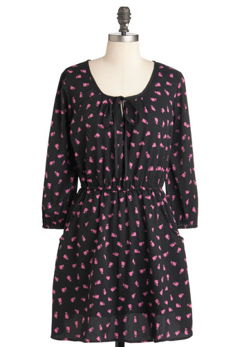 The Fuchsia is Meow Dress - Black, Pink, Print with Animals, Casual, Short, Pockets, A-line, 3/4 Sleeve, Holiday Sale, Top Rated