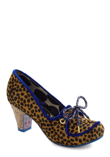 A Lot Going for You Heel by Irregular Choice - Mid, Leather, Multi, Animal Print, Bows, Trim, Party, Vintage Inspired, Luxe, International Designer