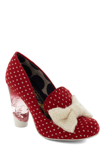 Independent Clause Heel by Irregular Choice - High, Red, Tan / Cream, Polka Dots, Bows, Party, Pinup, Vintage Inspired, Luxe, Holiday Party, International Designer