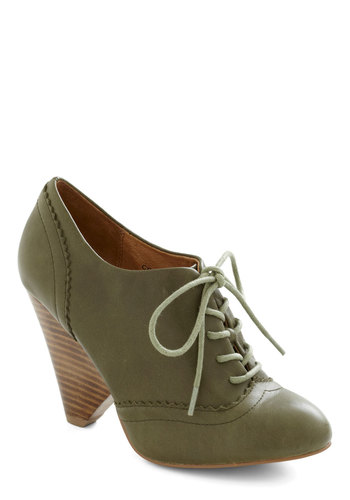 Pinch of Oregano Heel - Green, Solid, Lace Up, Mid, Leather, Vintage Inspired, 30s, Winter