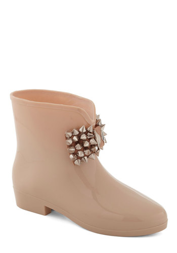 Re-belle in the Rain Boot - Cream, Studs, Flat, Casual, Urban