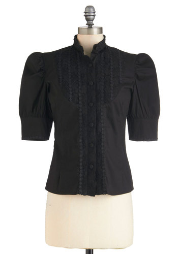 Fiction Contest Top - Black, Buttons, Steampunk, Short Sleeves, Mid-length, Cotton, Party, Work, French / Victorian