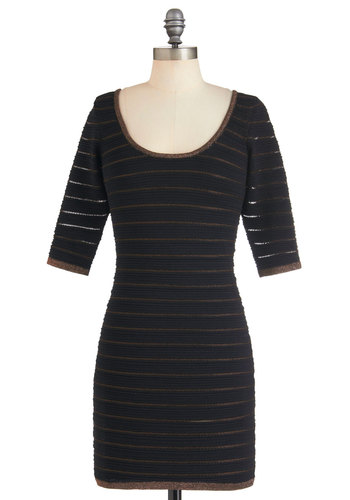 Gold New You Dress - Black, Gold, Stripes, Girls Night Out, Bodycon / Bandage, Short, Cutout, Scoop