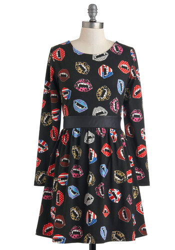 Do Your Own Fang Dress - Short, Cotton, Black, Multi, Print, Cutout, Casual, A-line, Long Sleeve, Statement