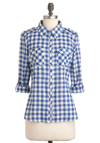 Gingham Style Top - Blue, White, Checkered / Gingham, Buttons, Epaulets, Pockets, Casual, Long Sleeve, Rustic, Fall, Mid-length, Blue