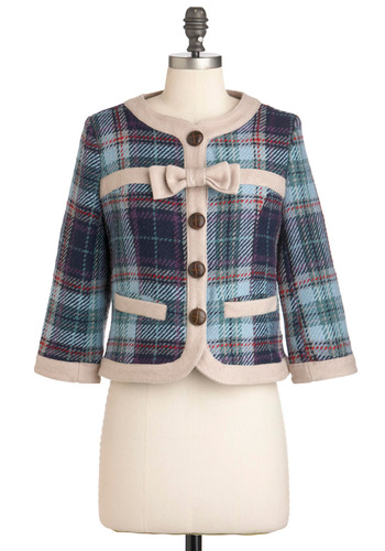 Brit Lit Love Blazer by Knitted Dove - Red, Blue, Purple, Tan / Cream, Plaid, Bows, Buttons, Pockets, Work, Vintage Inspired, 2, Multi, 3/4 Sleeve, Short