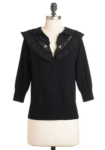 Ready to Research Cardigan - Cotton, Mid-length, Black, Solid, Crochet, 3/4 Sleeve, Casual