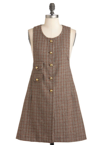 Baker Street Chic Jumper - Short, Brown, Multi, Buttons, Work, Scholastic/Collegiate, Tent / Trapeze, Sleeveless, Fall, Houndstooth