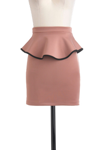 Party Planning Professional Skirt - Pink, Black, Peplum, Short, Party, Girls Night Out, Urban
