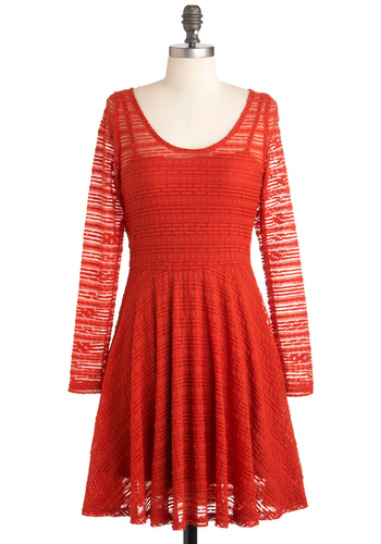 Have You Red the News? Dress - Red, Cutout, Casual, A-line, Long Sleeve, Mid-length, Scoop
