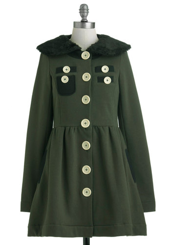A Thrill in the Air Coat by Knitted Dove - Long, Green, Solid, Buttons, Pockets, Long Sleeve, Fall, 2