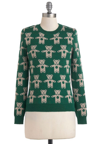 Can't Bear to Leave Sweater - Tan / Cream, Knitted, Casual, Long Sleeve, Mid-length, Print with Animals, Quirky, Fall, Winter, Green, Holiday, International Designer