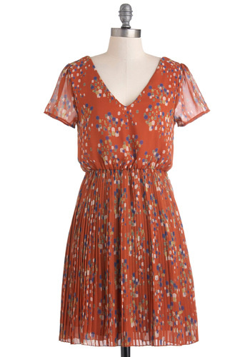 A Dab of Darling Dress - Mid-length, Orange, Multi, Print, Pleats, A-line, Short Sleeves, V Neck, Casual, Sheer
