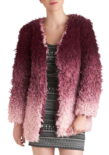 Chic Softly Jacket by Mink Pink - Pink, Casual, Long Sleeve, 2, Purple, Fall, Ombre