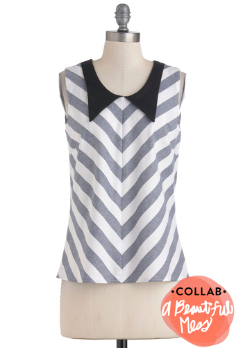 Chevron to Something Top - Stripes, Sleeveless, Black, Blue, White, Casual, Cotton, Mid-length, Exclusives, Chevron, Collared
