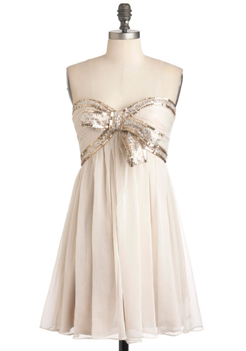 Elegance With a Sparkle Dress - Cream, Bows, Sequins, Empire, Strapless, Sweetheart, Mid-length, Prom, Party, Wedding, Bride