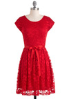 Mariachi Knows Best Dress - Red, Lace, Party, A-line, Short Sleeves, Belted, Pleats, Mid-length, Holiday Party