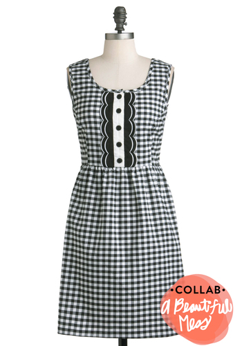Stylish Ever Crafter Dress - Black, White, Checkered / Gingham, Buttons, Scallops, Casual, Sheath / Shift, Sleeveless, Fall, Mid-length