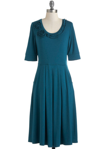 Ladies Who Lounge Dress - Jersey, Long, Solid, Flower, Casual, Short Sleeves, Blue, Pleats, Pockets, A-line, Top Rated