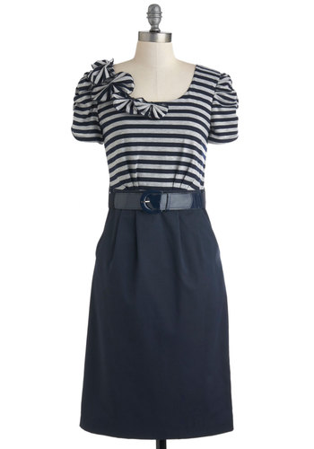 Pacific Park Dress - Blue, Grey, Stripes, Pockets, Belted, Nautical, Twofer, Short Sleeves, Casual, Long