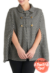 Mod-ern Times Cape - 2, Grey, White, Buttons, Black, Print, Peter Pan Collar, Casual, Vintage Inspired, 60s, Fall, Exclusives