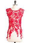 Fashionable Finesse Top in Red - Red, Solid, Lace, Sleeveless, Short, Party, Statement, Floral, Variation, Gifts Sale, Red, Sleeveless, Valentine's