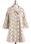 Open Heirloom Market Coat by Ryu - Tan / Cream, Lace, Cotton, 2, White, Floral, Bows, Pockets, 3/4 Sleeve, Long, Tis the Season Sale