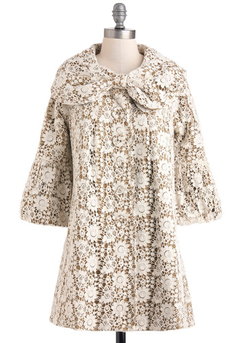 Open Heirloom Market Coat by Ryu - Tan / Cream, Lace, Cotton, 2, White, Floral, Bows, Pockets, 3/4 Sleeve, Tis the Season Sale, Long