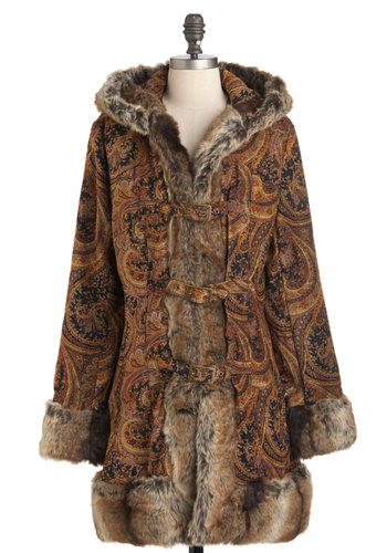 Just Like Jess Coat by Mink Pink - Long, 2, Multi, Orange, Brown, Tan / Cream, Paisley, Long Sleeve, Boho, 60s