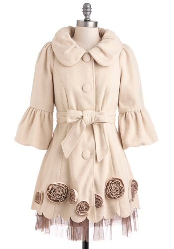 Off-White Knight Coat by Ryu - Buttons, Flower, Scallops, Long, 2, Cream, Tan / Cream, Solid, Pockets, Belted, 3/4 Sleeve
