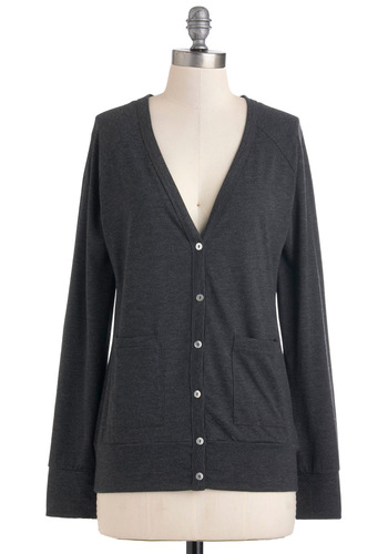 At the MIlkshake Machine Cardigan - Cotton, Black, Solid, Buttons, Casual, Long Sleeve, Pockets, Rustic, Fall, Mid-length