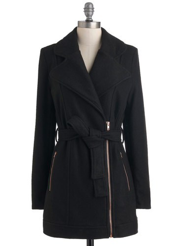 The Up and Uptown Coat by Mink Pink - Long, Black, Solid, Long Sleeve, Fall, 3, Exposed zipper, Pockets, Casual