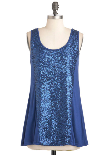 In with Sequins Top - Blue, Solid, Sequins, Party, Girls Night Out, Holiday Party, Sleeveless, Long