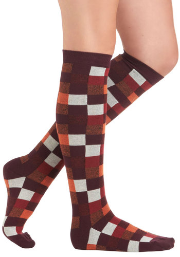 Plaid Personality Socks by PACT - Multi, Print, Mod, Knitted