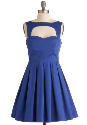 Last Slow Dance Dress in Blue - Short, Blue, Solid, Cutout, Pleats, Party, A-line, Sleeveless, Sweetheart, Variation, Formal