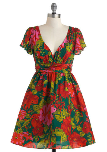 Pops Orchestra Concert Dress - Mid-length, Red, Floral, Daytime Party, Fit & Flare, Short Sleeves, V Neck, Green, Press Placement