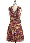 Flickering Florals Dress - Multi, Ruffles, Sleeveless, Mid-length, Floral, A-line, V Neck