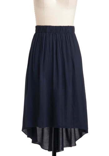 Inlet for the Weekend Skirt - Mid-length, Blue, Solid, Casual, A-line, Blue