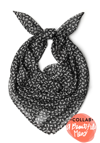 What a Daydream Scarf in Horses - Black, White, Print with Animals, Casual, Sheer, Exclusives