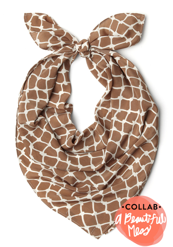 What a Daydream Scarf in Fences - Tan, White, Print, Casual, Sheer
